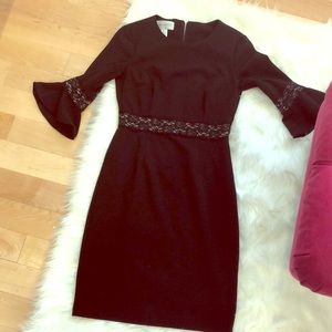 Black bell sleeve with lace trim dress